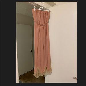 Zara pink strapless dress lace detail at bottom